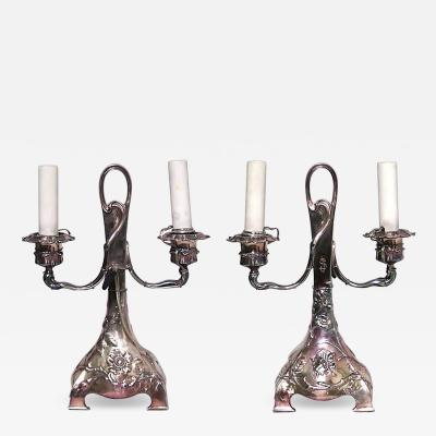 Pair of French Art Nouveau Silver Plate Double Arm Candelabra