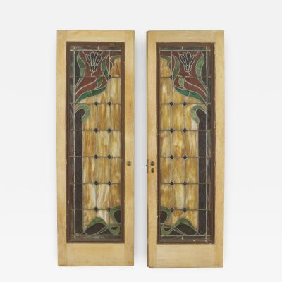 Pair of French Art Nouveau Stripped Framed Doors