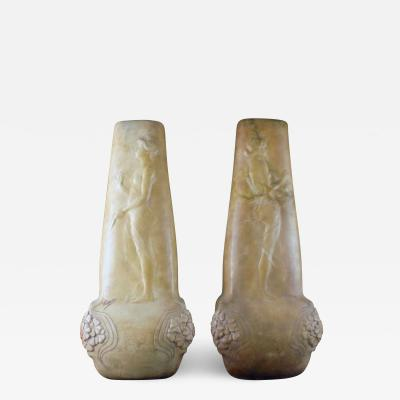 Pair of French Art Nouveau floor vases in terracotta
