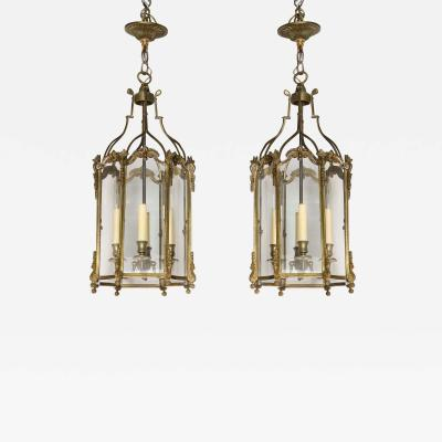 Pair of French Brass Hall Lanterns