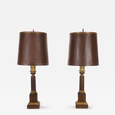 Pair of French Bronze Oil Lamps ca 1830s