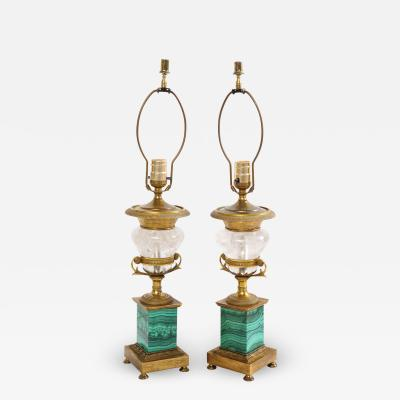 Pair of French Bronze Rock Crystal and Malachite Lamps