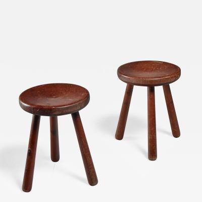 Pair of French Campagne Style Tripod Stools 1950s