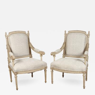 Pair of French Carved Louis XVI Armchairs