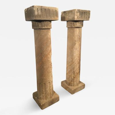 Pair of French Carved Sandstone Columns or Console Table Bases