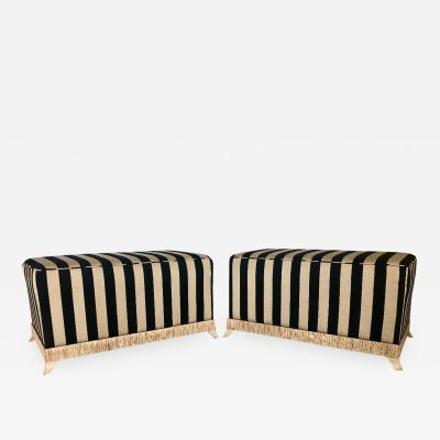 Pair of French Cerused Ottomans With Striped Sunbrella Fabric