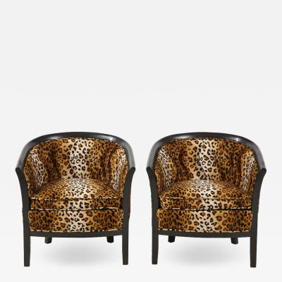 Pair of French Chairs with Leopard Fabric