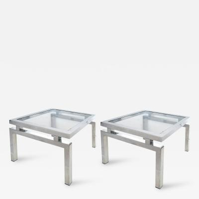 Pair of French Chrome and Glass End Tables in the Manner of Guy Lefevre