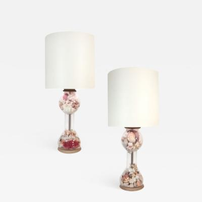 Pair of French Cloche Shell Lamps