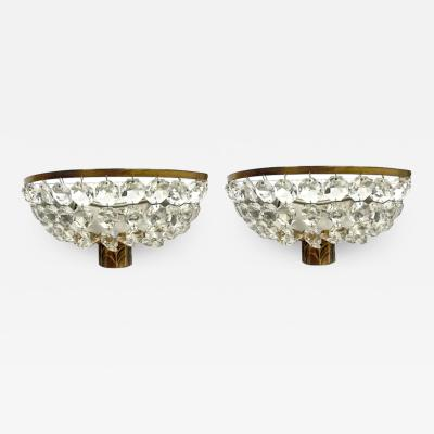 Pair of French Deco Crystal and Bronze Sconces