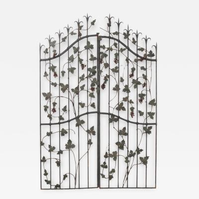 Pair of French Early 20th Century Painted Wrought Iron Grapevine Gates