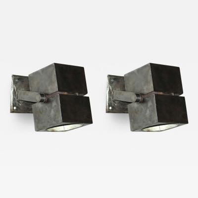 Pair of French Early Modern Steel Sconces in the style of Mallet Stevens