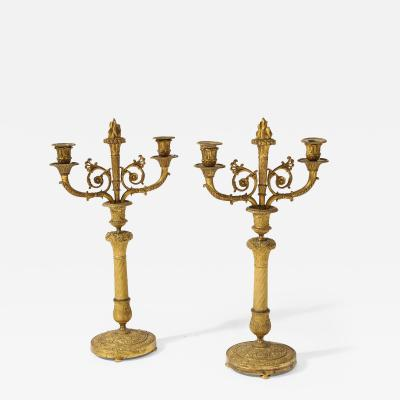 Pair of French Empire Bronze 2 Arm Candelabra