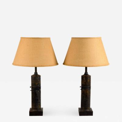 Pair of French Empire Column Lamps