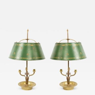 Pair of French Empire Style Bronze Table Lamps with Green Tole Shade