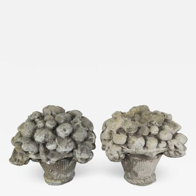 Pair of French Garden Ornaments of Fruit Filled Urns