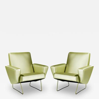 Pair of French Geometrical Club Chair Pierre Guariche