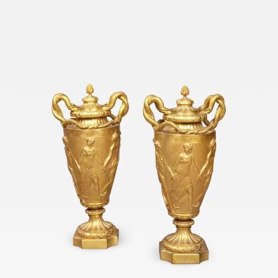 Pair of French Gilt Bronze Urns with Classical Italian Scenes