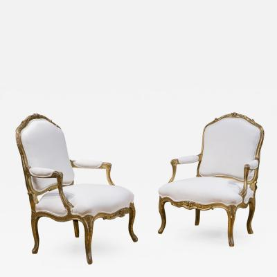 Pair of French Gilt Louis XV Armchairs