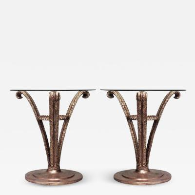 Pair of French Gilt Triple Plume End Tables