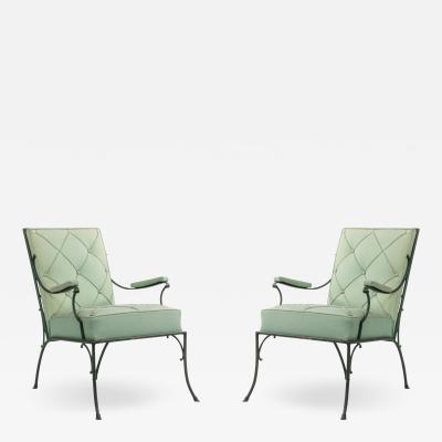 Pair of French Green Cushions Iron Arm Chairs