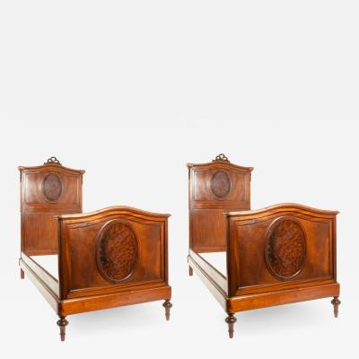 Pair of French Hand Carved Walnut Burl Walnut Single Bed