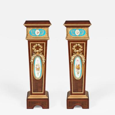 Pair of French Harewood Ormolu and Blue and White Porcelain Pedestals