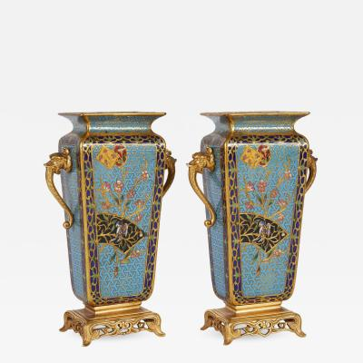 Pair of French Japonisme Bronze Ormolu and Champlev Cloisonn Enamel Vases