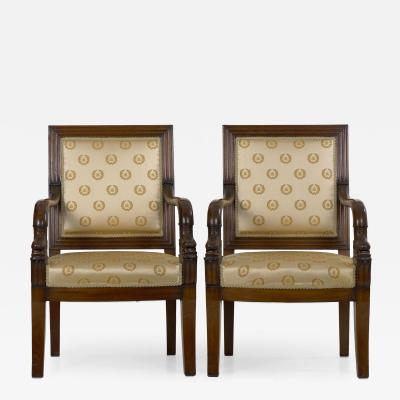 Pair of French Louis Phillipe Napoleonic Carved Mahogany Arm Chairs ca 1840