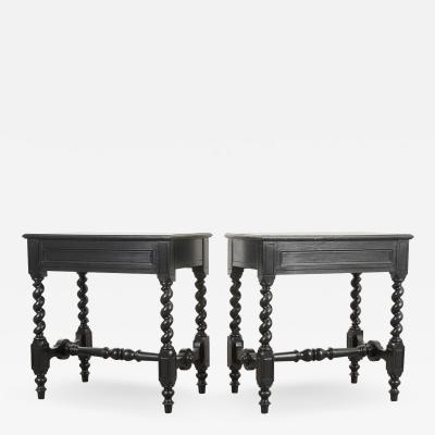 Pair of French Louis XIII Style Ebonized Side Tables