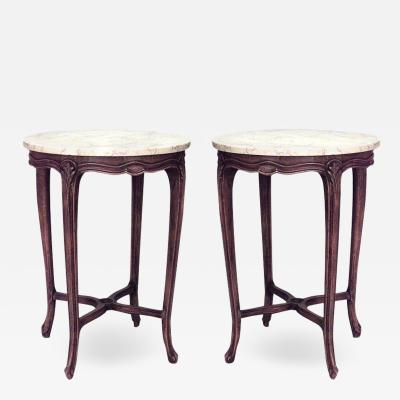 Pair of French Louis XV Small Walnut and Marble End Tables