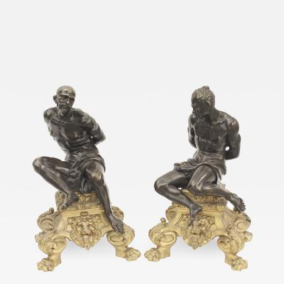 Pair of French Louis XV Style 19th Cent Chenet Andirons