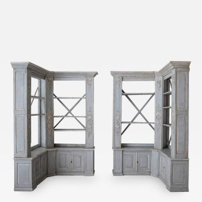 Pair of French Louis XV Style Corner Bookcases