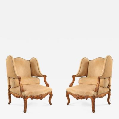 Pair of French Louis XV style Beige Suede Upholstered Open Wingback Armchairs