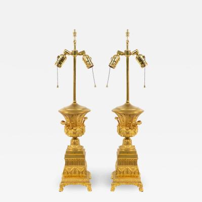 Pair of French Louis XVI Style Bronze Dore Urn Table Lamps