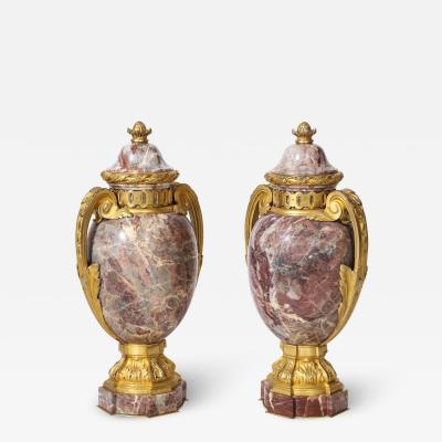 Pair of French Louis XVI Style Bronze Mounted Marble Urns