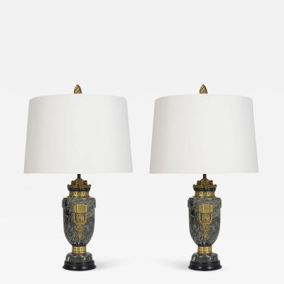 Pair of French Louis XVI Style Marble Garniture Table Lamps