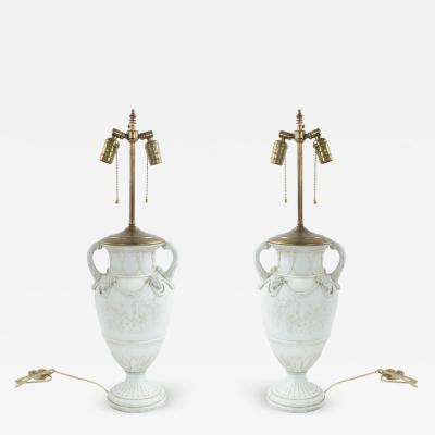 Pair of French Louis XVI Style Porcelain Urn Tables Lamps