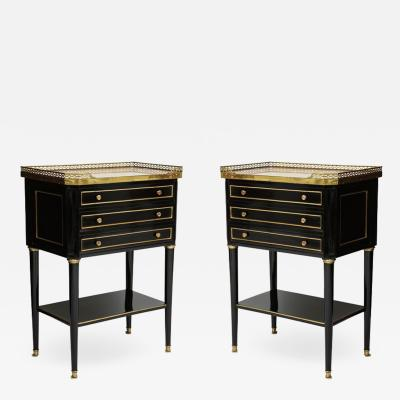 Pair of French Louis XVI style marble top end tables with brass gallery