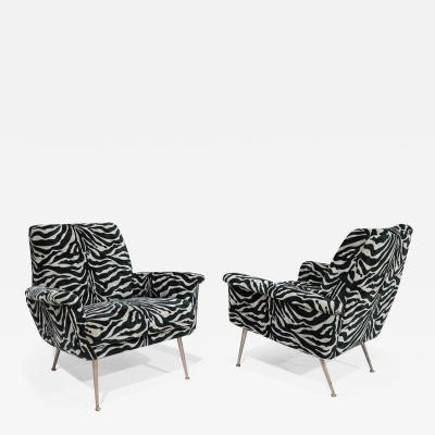 Pair of French Lounge Chairs in New Black Gray Tiger Stripe Upholstery
