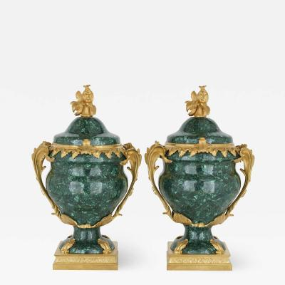 Pair of French Malachite and Gilt Bronze Vases