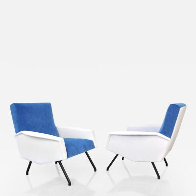 Pair of French Mid Century Modern Blue and White Velvet Lounge Chairs