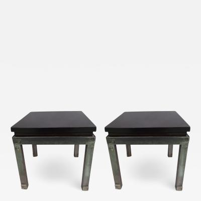 Pair of French Modern Craftsman Steel and Mahogany Benches or Side Tables 1930