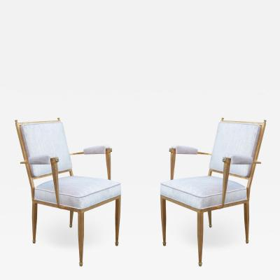 Pair of French Modernist Gilt Metal Armchairs