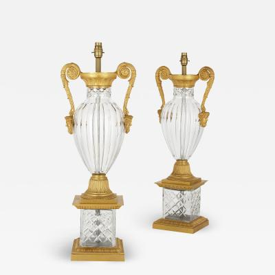 Pair of French Neoclassical Style Gilt Bronze and Cut Glass Lamps