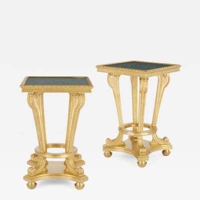 Pair of French Neoclassical style gilt bronze and malachite stands