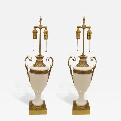 Pair of French Opaline Glass Bronze Mounted Lamps in the Neoclassical Manner