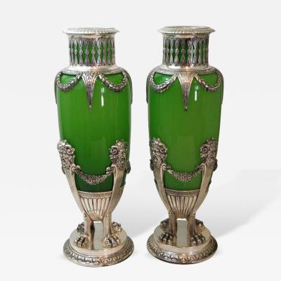 Pair of French Opaline Glass and Silver Mounted Vases