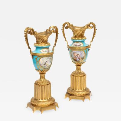 Pair of French Ormolu Mounted Turquoise S vres Porcelain Vases circa 1880