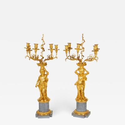 Pair of French Ormolu and Bleu Turquin Marble Candelabra Monbro Fr res